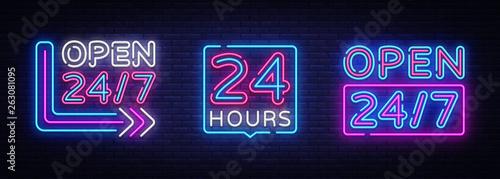 Fényképezés  24 hours Neon signboards set Vector