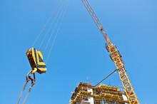 Big Tower Crane Against Blue Sky