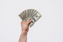 Man's Hand Holds American Dollars Money. Finance, Earnings, Crediting