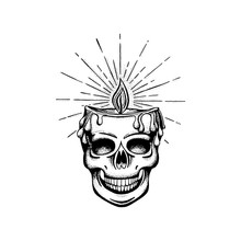 Skull. Skull With Burning Candle With Rays In Head. Skull And Candle Hand Drawn Vector Illustration.