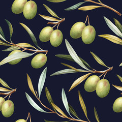 Fototapeta Do jadalni Seamless pattern with green olive branches. Elegant watercolor background.