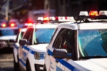 New York NYPD Police Car With Sirens At Day