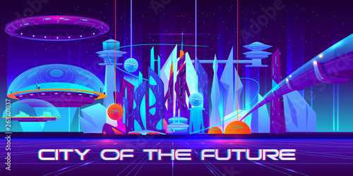 In de dag Violet City of future at night with glowing neon lights and shining spheres. Metropolis landscape with flying town parts under glass domes, spaceship, tube bridge and skyscrapers. Cartoon vector illustration