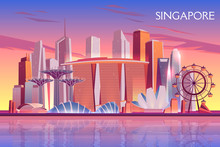 Singapore Evening, Morning Skyline With Futuristic Skyscraper Buildings On City Bay Illuminated With Setting, Raising Sun Cartoon Vector Background. Asian Metropolis Touristic Attractions Illustration