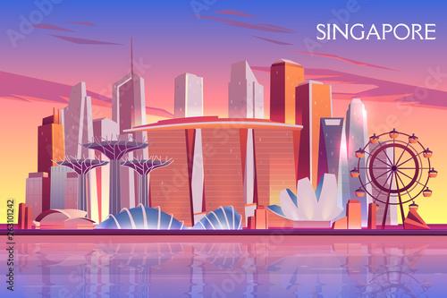 Fotografía Singapore evening, morning skyline with futuristic skyscraper buildings on city bay illuminated with setting, raising sun cartoon vector background