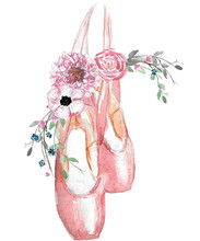Watercolor Illustration Of Pointe Shoes With A Floral Arrangement