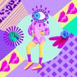 canvas print picture Contemporary art collage. Fashion Eye. Texture mix. Zine culture concept