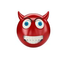 Yellow Devil Emoji On White Isolated Background, 3d Illustration
