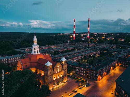 Katowice Nikiszowiec z powietrza - Noc