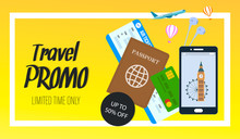 Travel Promo Vector Horizontal Flyer With Text