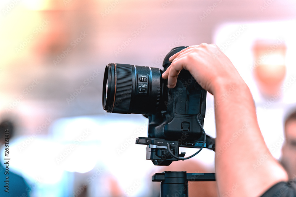 Fototapeta Video shooting with camera - obraz na płótnie