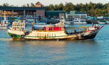 Taiwanese Fishing Boat In The Tamsui Harbour