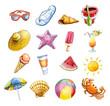 Leinwanddruck Bild - Acuarela conjunto de iconos de playa