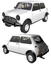 Retro Mini Car Vector. Illustration Isolated On White Background. A Vector Illustration Of A Car.