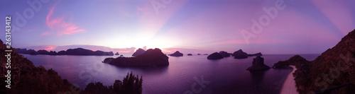 Foto auf AluDibond Aubergine lila Panorama sunset views of the Island at Ang Thong Archipelago