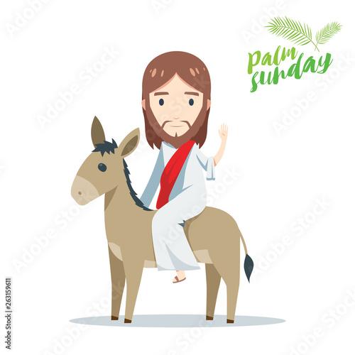 Fotografie, Tablou palm sunday - Jesus is riding a donkey