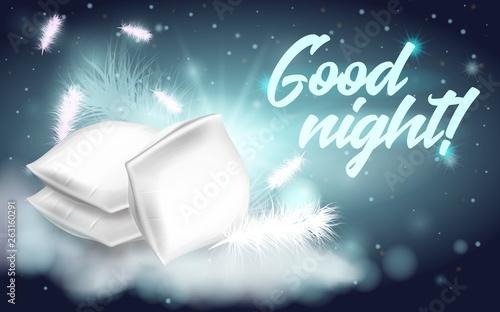 Fényképezés  Feather Pillows Written Good Night Banner Cartoon