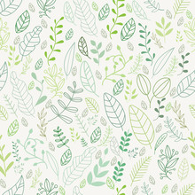 Vector Leaves Pattern In Doodles Style  Endless Print.