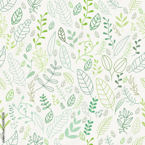 Vector leaves pattern in doodles style  endless print. Wall mural