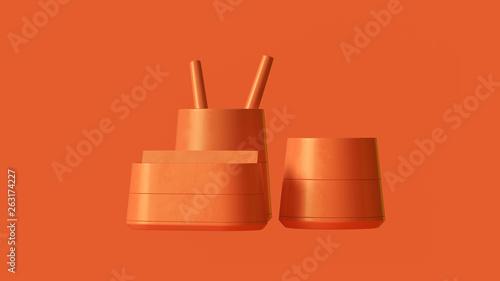 Obraz na plátně Orange Office Pen Holder Desk Tidy 3d illustration 3d render