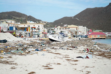 Philipsburg Sint Maarten: Board Walk And Buildings Completely Covered With Beach Sand And Debris After Island Got Hit By Hurricane Irma.