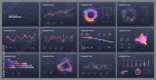 Fototapeta Dashboard infographic template with big data visualization. Pie charts, workflow, web design, UI elements. obraz