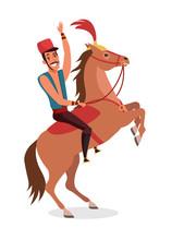 Circus Horse Rider Flat Vector Illustration