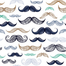 Vintage Moustaches Seamless Hand Drawn Pattern. Retro Classic French, British Face Style Texture Background. Line Sketch, Hipster Element. Wallpaper, Wrapping Paper, Fabric Print Vector Illustration