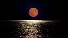 Full Moon Light Reflect In Sea Water, Summer Romantic Night At Seaside