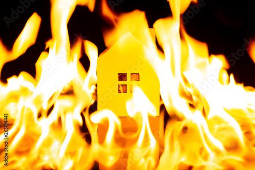 house inside a big fire Wallpaper Mural