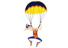 Cartoon Skydiver Isolated Illu...