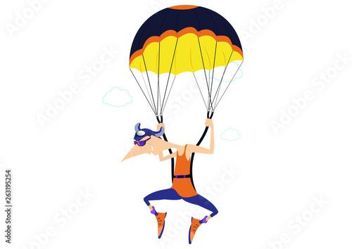 Obraz na plátne Cartoon skydiver isolated illustration