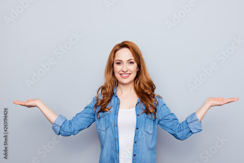 Fototapeta Close up photo beautiful amazing she her model lady palms arms hands empty space novelty proposition pick select best option product wear casual blue jeans denim shirt isolated grey background obraz