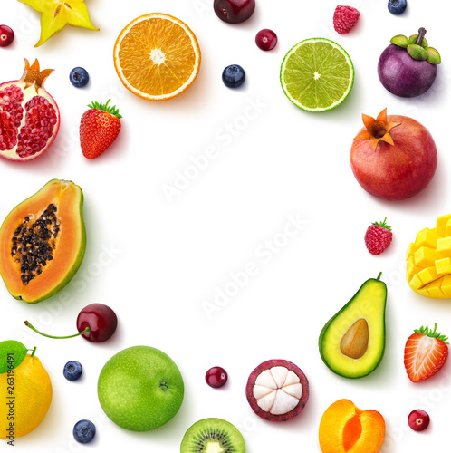 Photo  Various fruits and berries isolated on white background, top view, creative flat