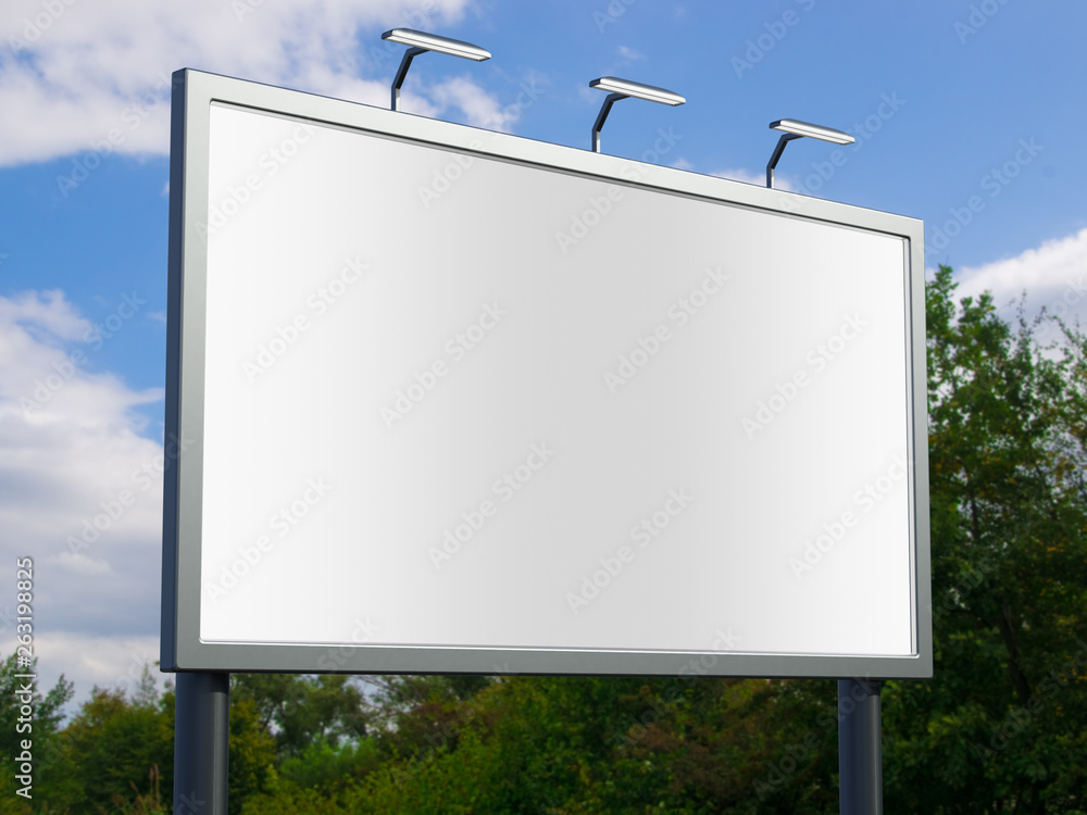 Fototapety, obrazy: 3D rendering of blank billboard (empty advertisement) with city background. Empty mockup template