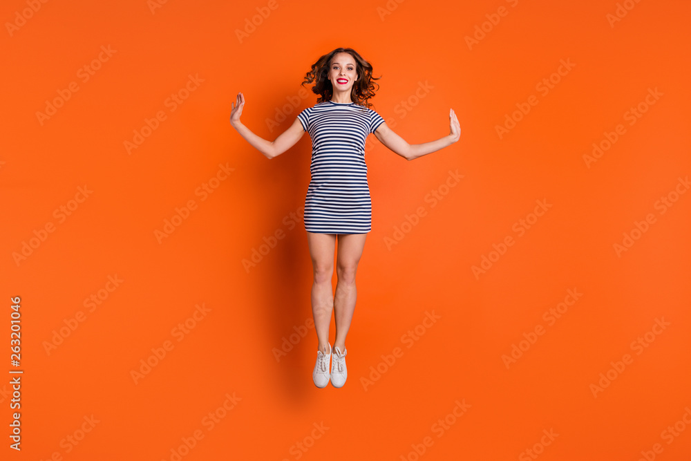 Fototapety, obrazy: Full length body size photo of glad pretty attractive slender she her dream dreamy lady wearing white shoes canvas footwear on legs isolated vivid background