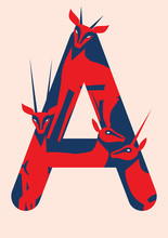 Vector Animal Alphabet. Vector Letters With Animals. First Letter Of Alphabet