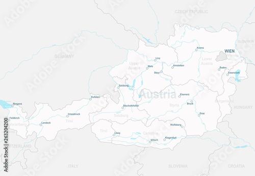 Austria Map Rivers