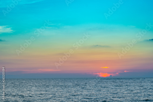 Poster Turquoise sky sea blue scape