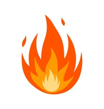 Abstract Fire Icon Isolated Ov...