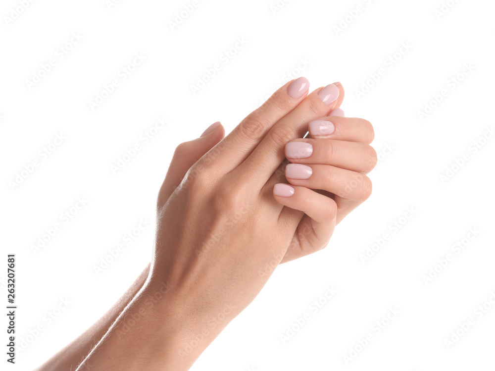 Fototapeta Woman with beautiful hands on white background, closeup. Spa treatment