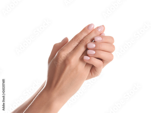 Fototapeta Woman with beautiful hands on white background, closeup. Spa treatment obraz