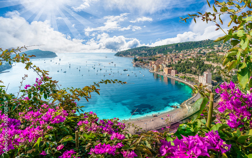 Deurstickers Nice Aerial view of French Riviera coast with medieval town Villefranche sur Mer, Nice region, France