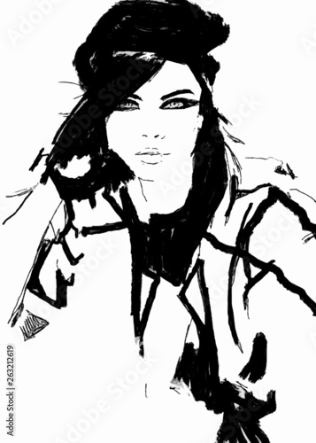 Vector Sketch Fashion Abstract Simple Black And White