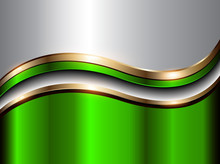 Abstract Background Green With Gold Metallic Wave,