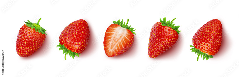 Fototapety, obrazy: Strawberry isolated on white background with clipping path, top view