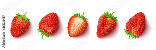 Fotografía Strawberry isolated on white background with clipping path, top view