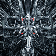 Maiden In The Machine / 3D Illustration Of Science Fiction Meditating Female Android Hardwired To Complex Alien Machinery