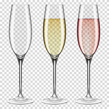 Set Of Realistic Transparent Wine Glasses Empty And With Champagne, Isolated On Transparent Background.
