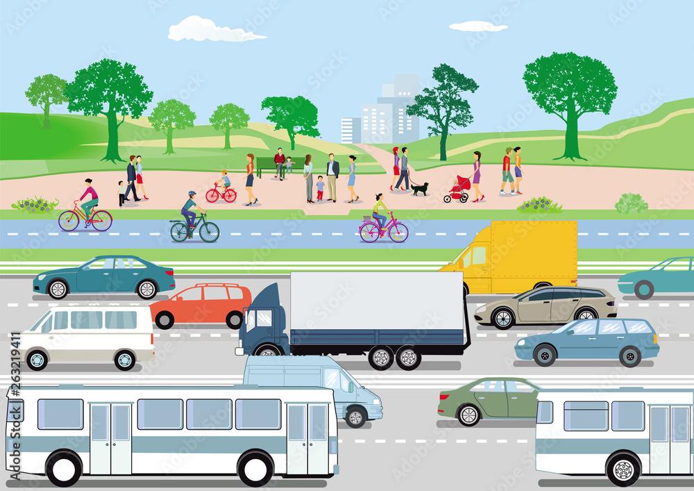Fototapeta Verkehr mit Autos und Radfahrern